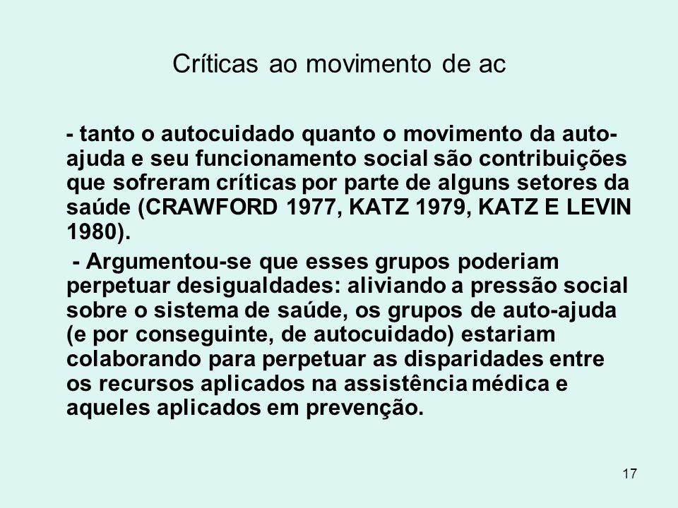 17 Críticas ao movimento de ac - tanto o autocuidado quanto o movimento da auto- ajuda e seu funcionamento social são contribuições que sofreram críti