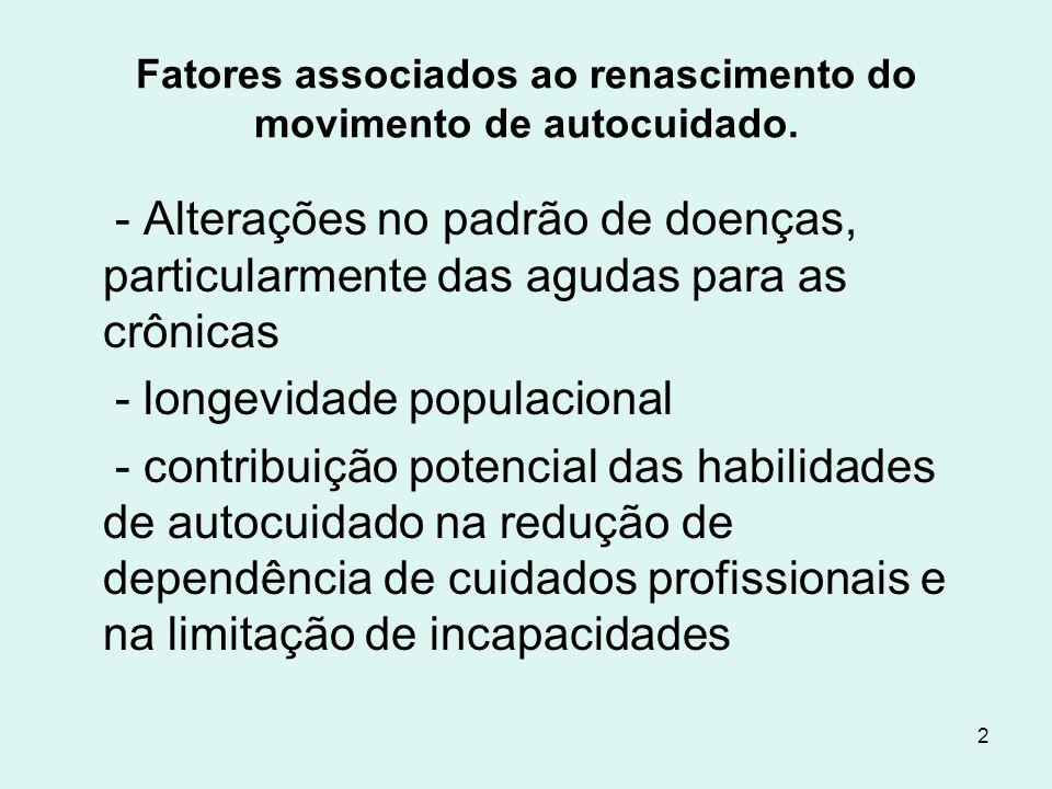 2 Fatores associados ao renascimento do movimento de autocuidado. - Alterações no padrão de doenças, particularmente das agudas para as crônicas - lon