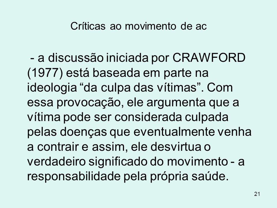 """21 Críticas ao movimento de ac - a discussão iniciada por CRAWFORD (1977) está baseada em parte na ideologia """"da culpa das vítimas"""". Com essa provocaç"""