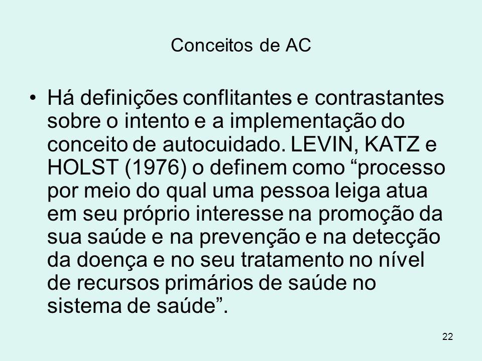 22 Conceitos de AC Há definições conflitantes e contrastantes sobre o intento e a implementação do conceito de autocuidado. LEVIN, KATZ e HOLST (1976)