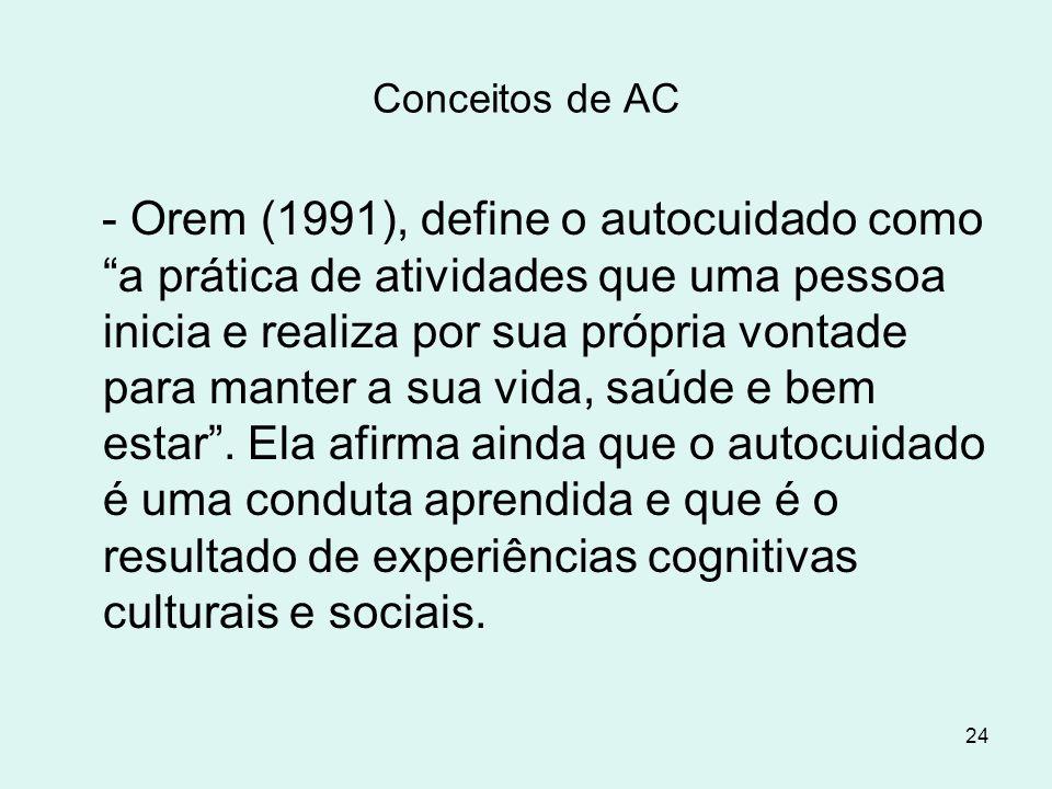 """24 Conceitos de AC - Orem (1991), define o autocuidado como """"a prática de atividades que uma pessoa inicia e realiza por sua própria vontade para mant"""