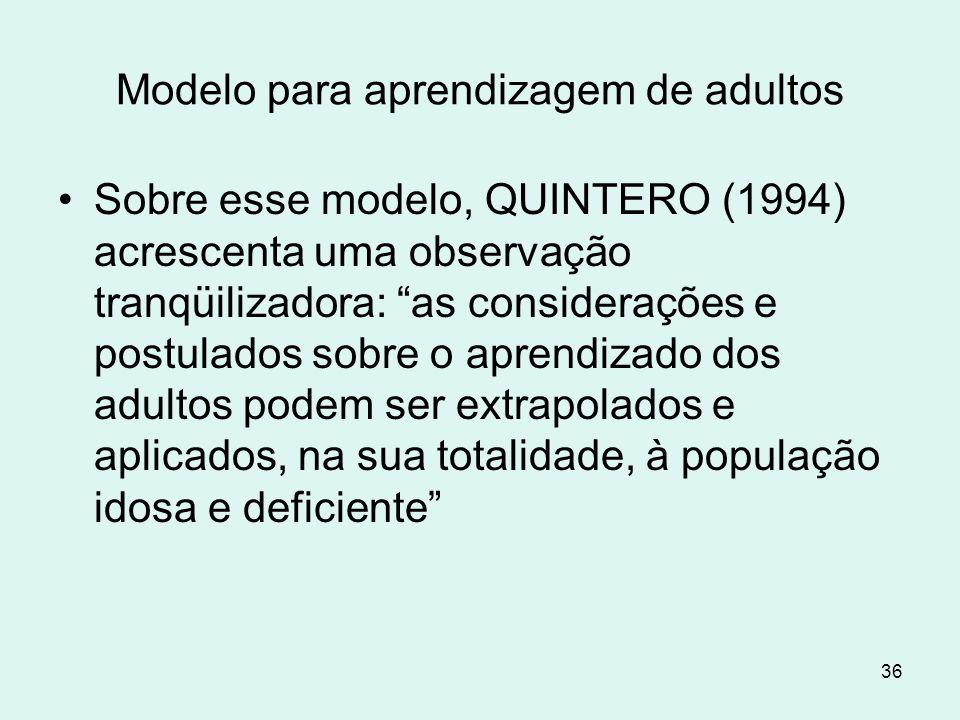 """36 Modelo para aprendizagem de adultos Sobre esse modelo, QUINTERO (1994) acrescenta uma observação tranqüilizadora: """"as considerações e postulados so"""