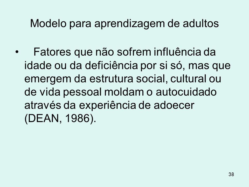 38 Modelo para aprendizagem de adultos Fatores que não sofrem influência da idade ou da deficiência por si só, mas que emergem da estrutura social, cu
