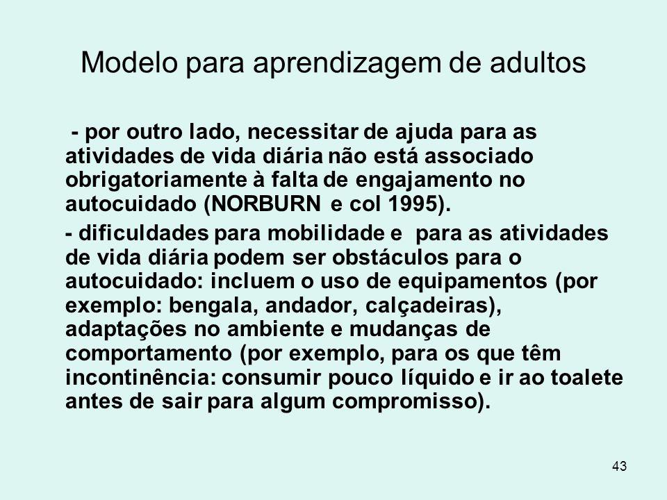 43 Modelo para aprendizagem de adultos - por outro lado, necessitar de ajuda para as atividades de vida diária não está associado obrigatoriamente à f