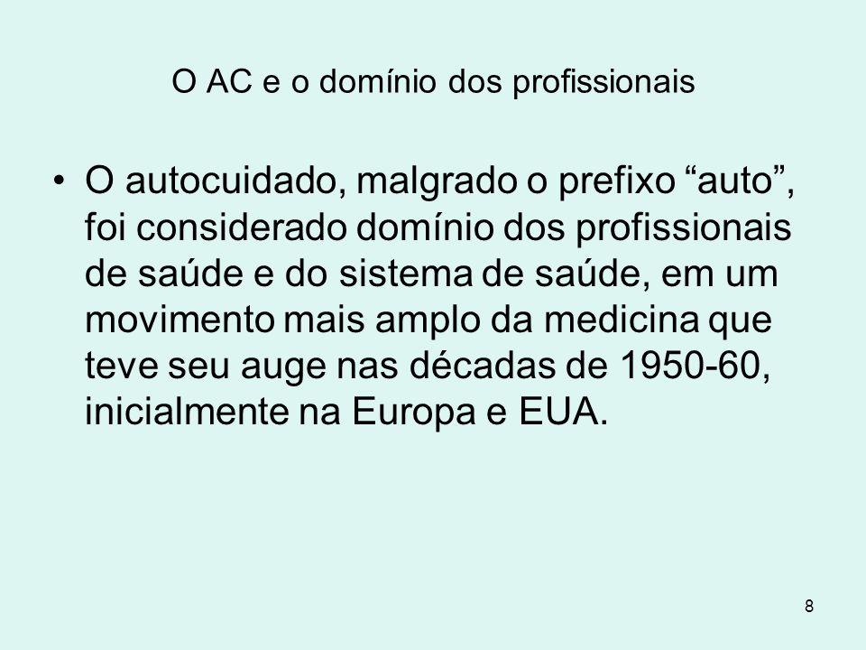 """8 O AC e o domínio dos profissionais O autocuidado, malgrado o prefixo """"auto"""", foi considerado domínio dos profissionais de saúde e do sistema de saúd"""
