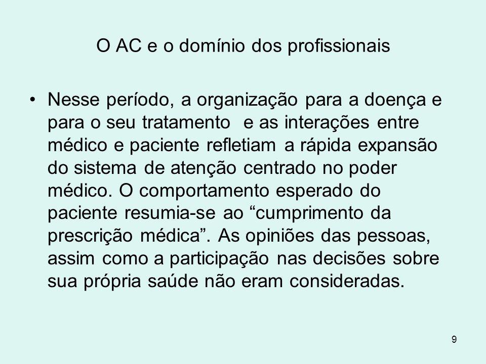 9 O AC e o domínio dos profissionais Nesse período, a organização para a doença e para o seu tratamento e as interações entre médico e paciente reflet