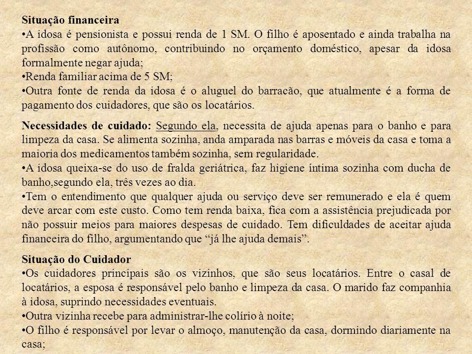 Situação financeira A idosa é pensionista e possui renda de 1 SM.