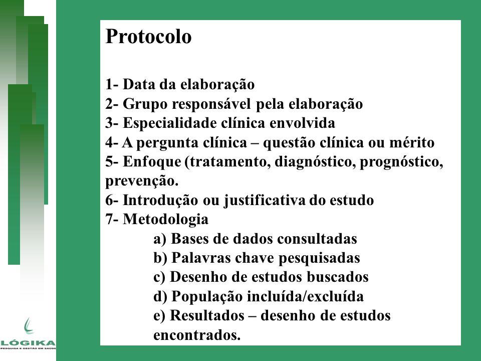 Protocolo 1- Data da elaboração 2- Grupo responsável pela elaboração 3- Especialidade clínica envolvida 4- A pergunta clínica – questão clínica ou mér
