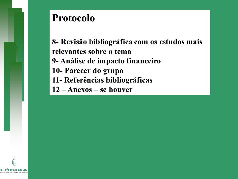 Protocolo 8- Revisão bibliográfica com os estudos mais relevantes sobre o tema 9- Análise de impacto financeiro 10- Parecer do grupo 11- Referências b