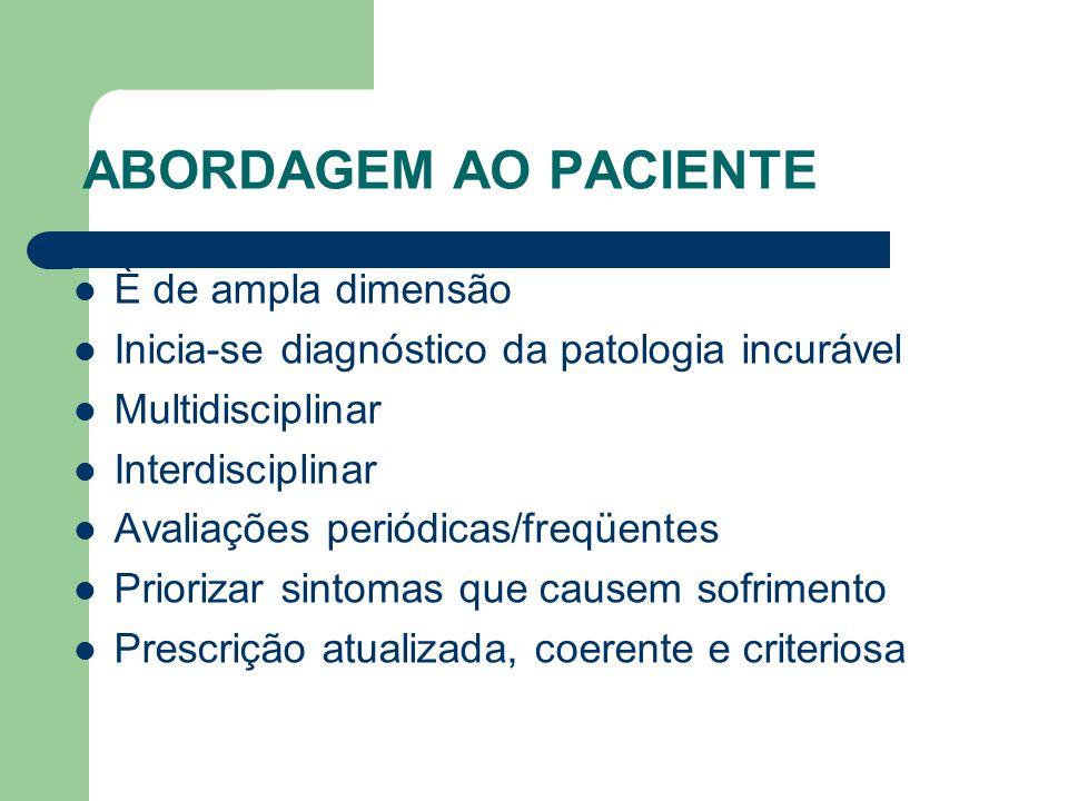 ABORDAGEM AO PACIENTE È de ampla dimensão Inicia-se diagnóstico da patologia incurável Multidisciplinar Interdisciplinar Avaliações periódicas/freqüentes Priorizar sintomas que causem sofrimento Prescrição atualizada, coerente e criteriosa