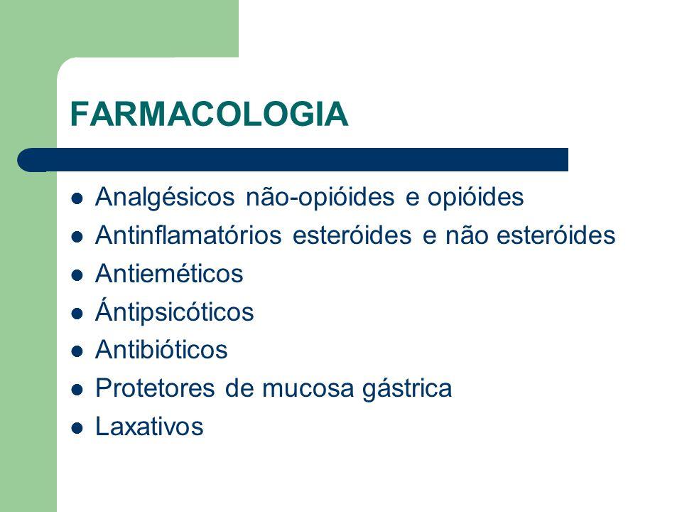 FARMACOLOGIA Analgésicos não-opióides e opióides Antinflamatórios esteróides e não esteróides Antieméticos Ántipsicóticos Antibióticos Protetores de mucosa gástrica Laxativos