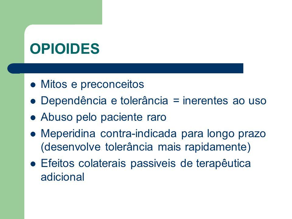 OPIOIDES Mitos e preconceitos Dependência e tolerância = inerentes ao uso Abuso pelo paciente raro Meperidina contra-indicada para longo prazo (desenvolve tolerância mais rapidamente) Efeitos colaterais passiveis de terapêutica adicional