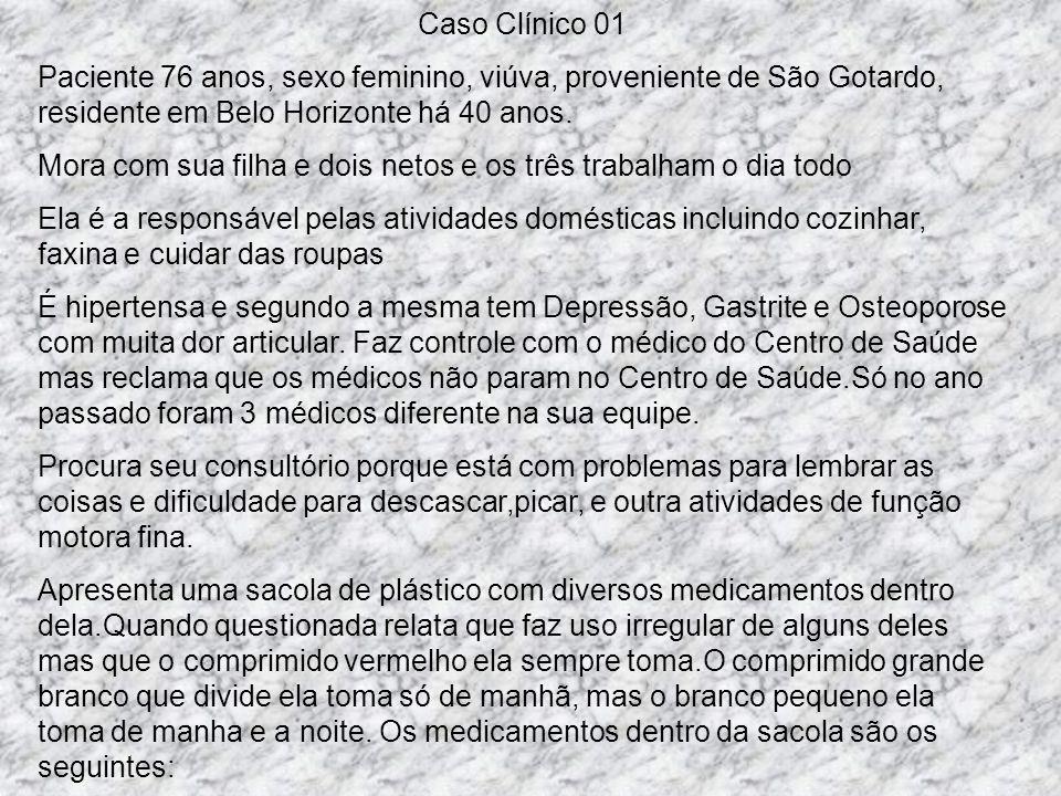 Caso Clínico 01 Paciente 76 anos, sexo feminino, viúva, proveniente de São Gotardo, residente em Belo Horizonte há 40 anos.