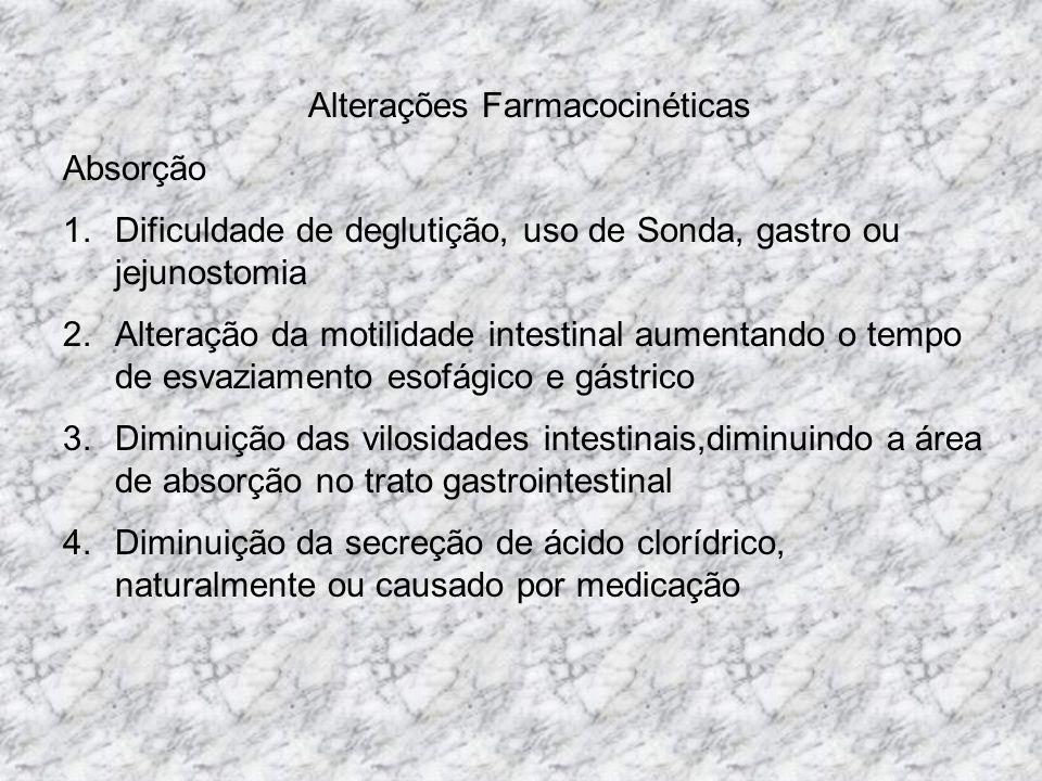 Alterações Farmacocinéticas Absorção 1.Dificuldade de deglutição, uso de Sonda, gastro ou jejunostomia 2.Alteração da motilidade intestinal aumentando o tempo de esvaziamento esofágico e gástrico 3.Diminuição das vilosidades intestinais,diminuindo a área de absorção no trato gastrointestinal 4.Diminuição da secreção de ácido clorídrico, naturalmente ou causado por medicação