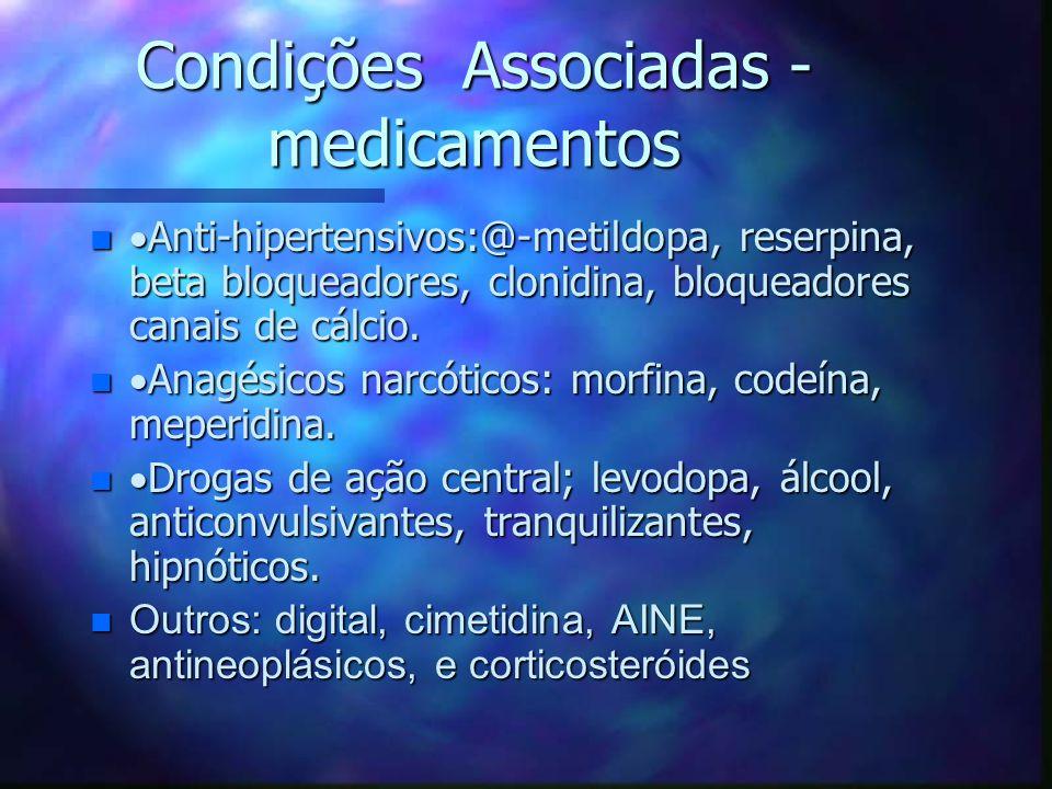 Condições Associadas - medicamentos n  Anti-hipertensivos:@-metildopa, reserpina, beta bloqueadores, clonidina, bloqueadores canais de cálcio. n  An