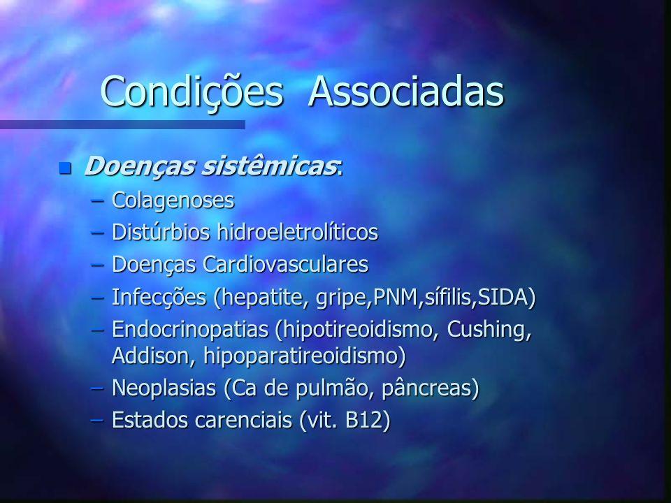 Condições Associadas n Doenças sistêmicas: –Colagenoses –Distúrbios hidroeletrolíticos –Doenças Cardiovasculares –Infecções (hepatite, gripe,PNM,sífil