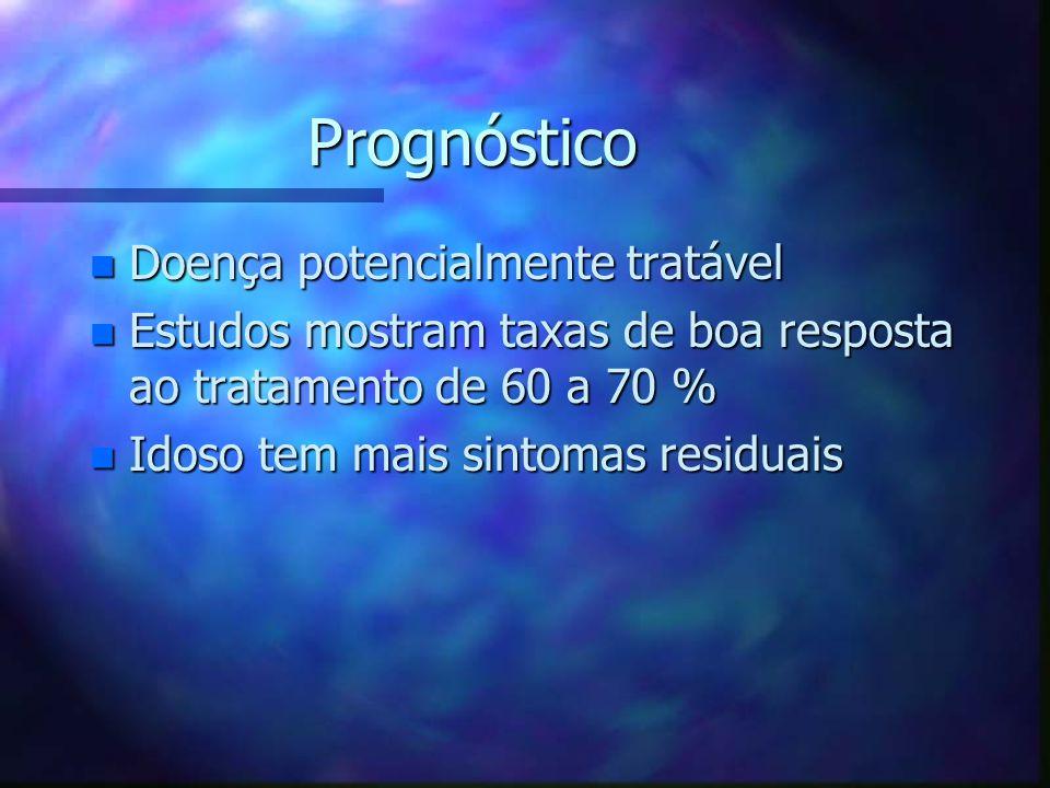 Prognóstico n Doença potencialmente tratável n Estudos mostram taxas de boa resposta ao tratamento de 60 a 70 % n Idoso tem mais sintomas residuais