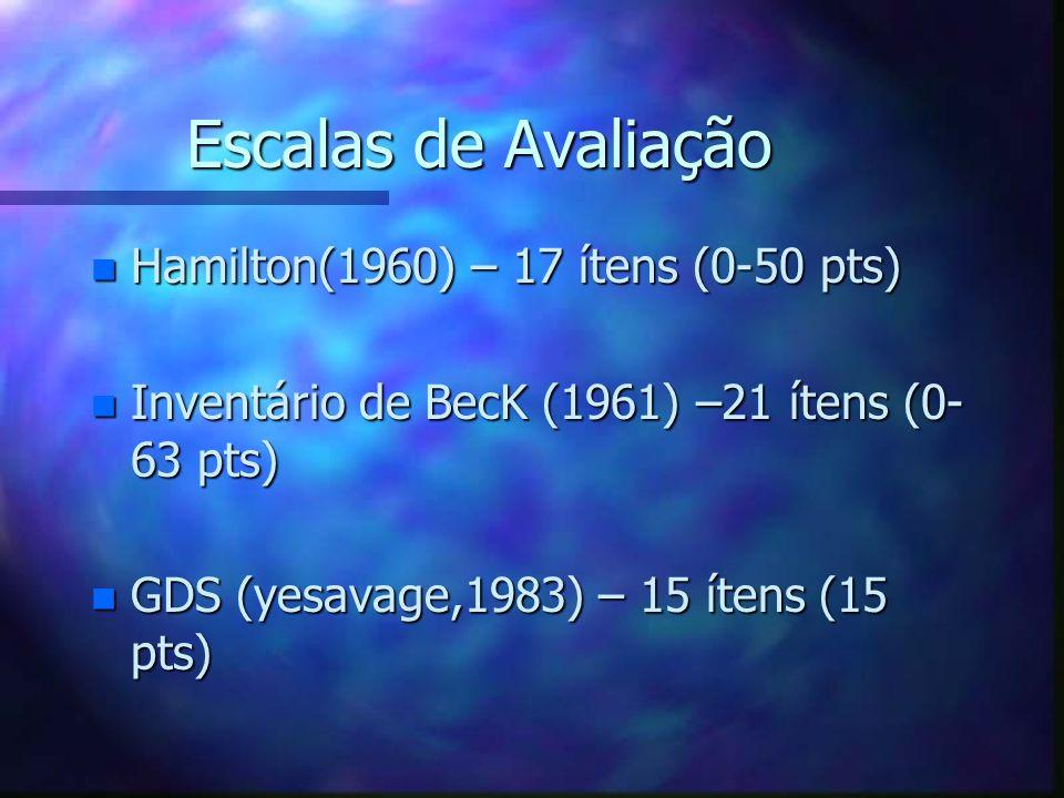Escalas de Avaliação n Hamilton(1960) – 17 ítens (0-50 pts) n Inventário de BecK (1961) –21 ítens (0- 63 pts) n GDS (yesavage,1983) – 15 ítens (15 pts