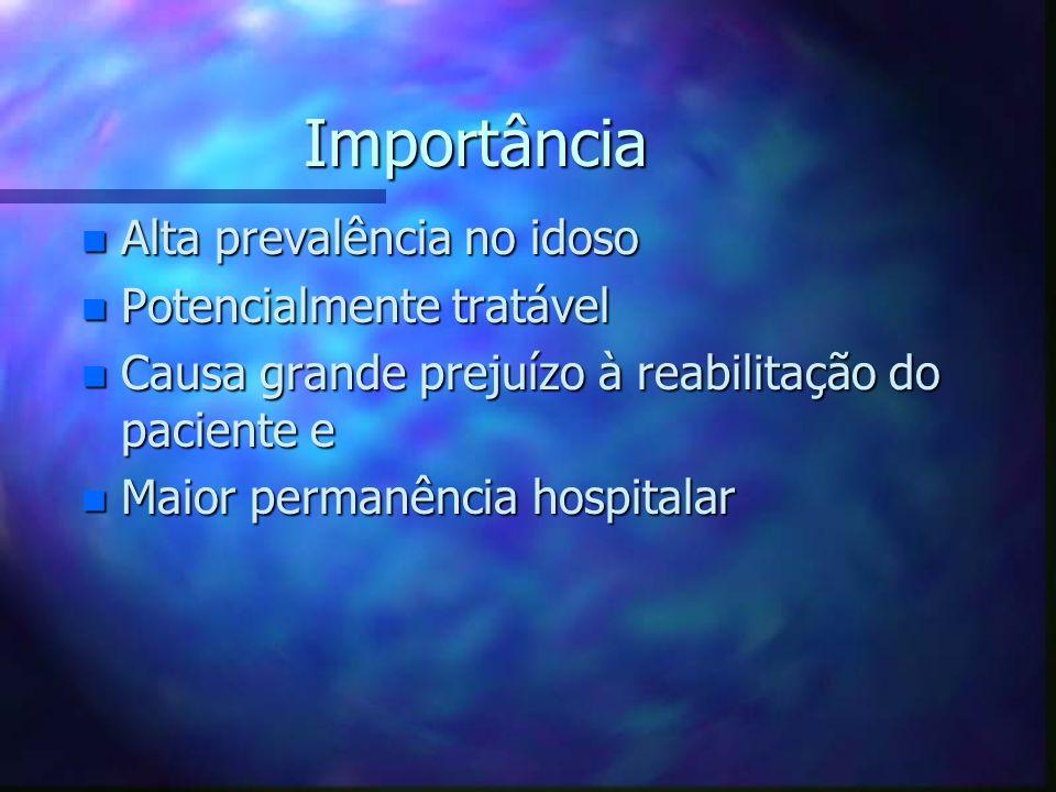 Importância n Alta prevalência no idoso n Potencialmente tratável n Causa grande prejuízo à reabilitação do paciente e n Maior permanência hospitalar