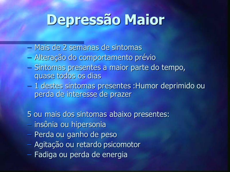 Depressão Maior –Mais de 2 semanas de sintomas –Alteração do comportamento prévio –Sintomas presentes a maior parte do tempo, quase todos os dias –1 d