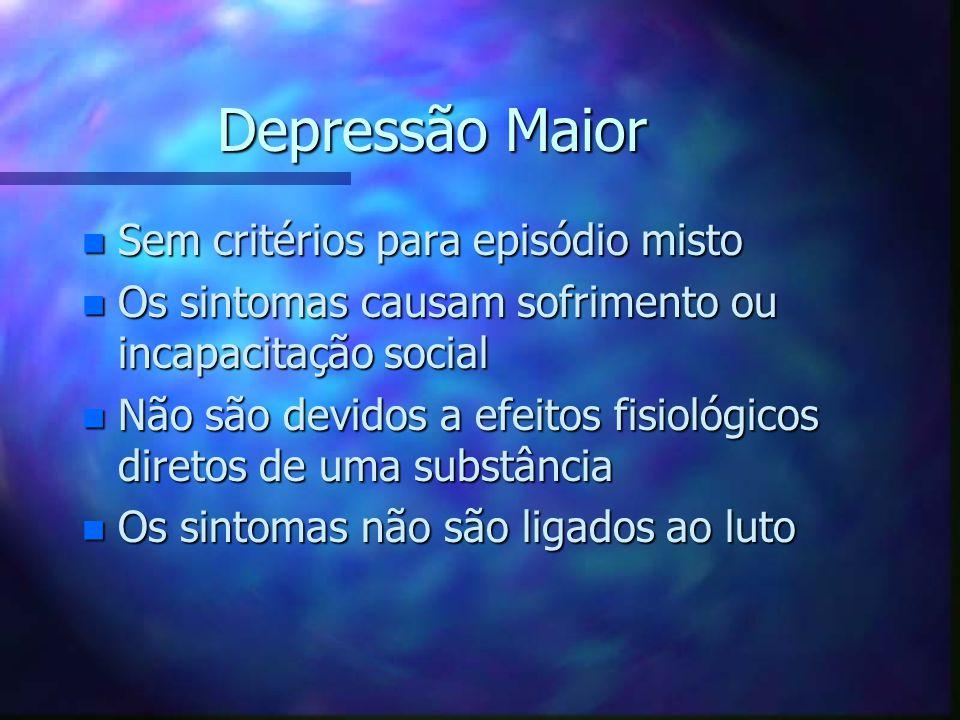 Depressão Maior n Sem critérios para episódio misto n Os sintomas causam sofrimento ou incapacitação social n Não são devidos a efeitos fisiológicos d
