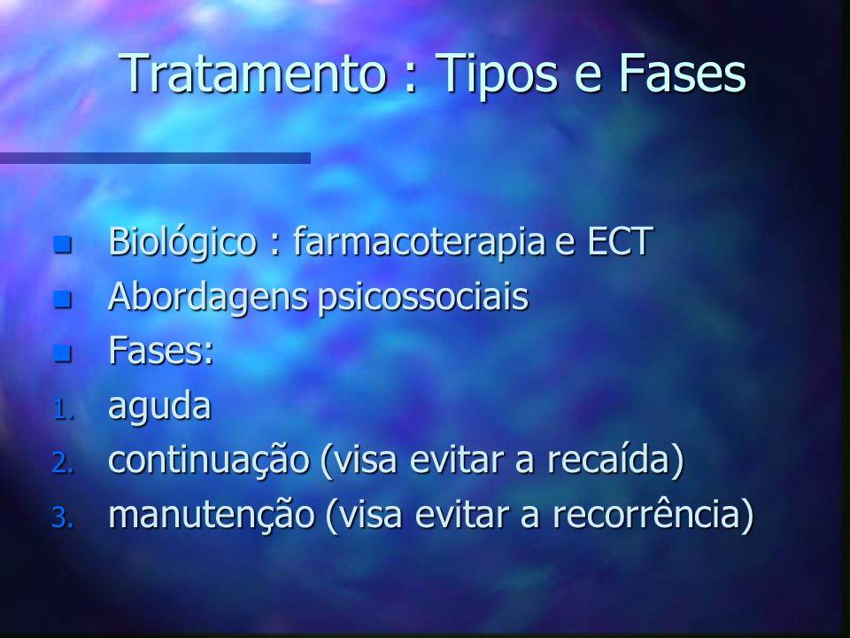 Tratamento : Tipos e Fases n Biológico : farmacoterapia e ECT n Abordagens psicossociais n Fases: 1. aguda 2. continuação (visa evitar a recaída) 3. m