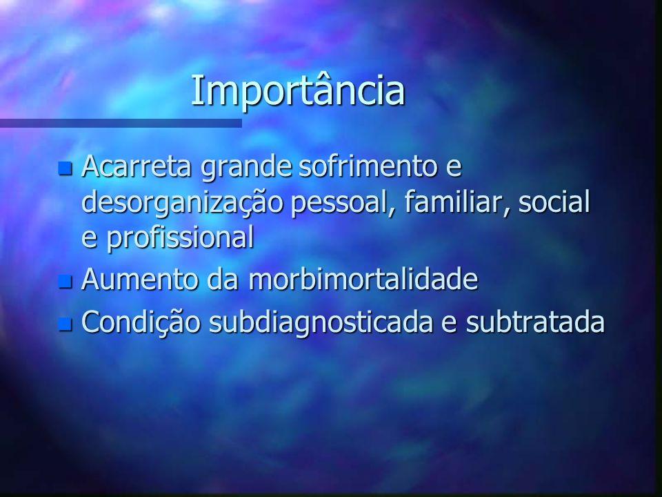 Importância n Acarreta grande sofrimento e desorganização pessoal, familiar, social e profissional n Aumento da morbimortalidade n Condição subdiagnos