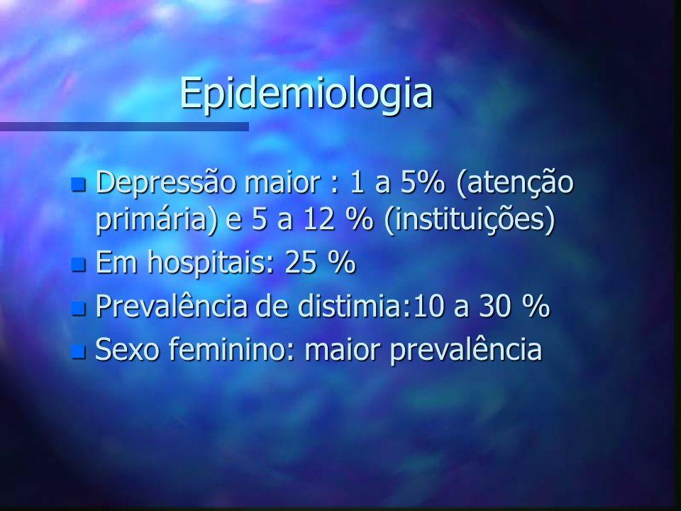 Epidemiologia n Depressão maior : 1 a 5% (atenção primária) e 5 a 12 % (instituições) n Em hospitais: 25 % n Prevalência de distimia:10 a 30 % n Sexo