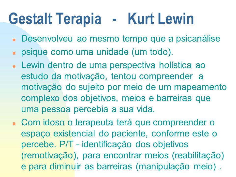 Gestalt Terapia - Kurt Lewin n Desenvolveu ao mesmo tempo que a psicanálise n psique como uma unidade (um todo).