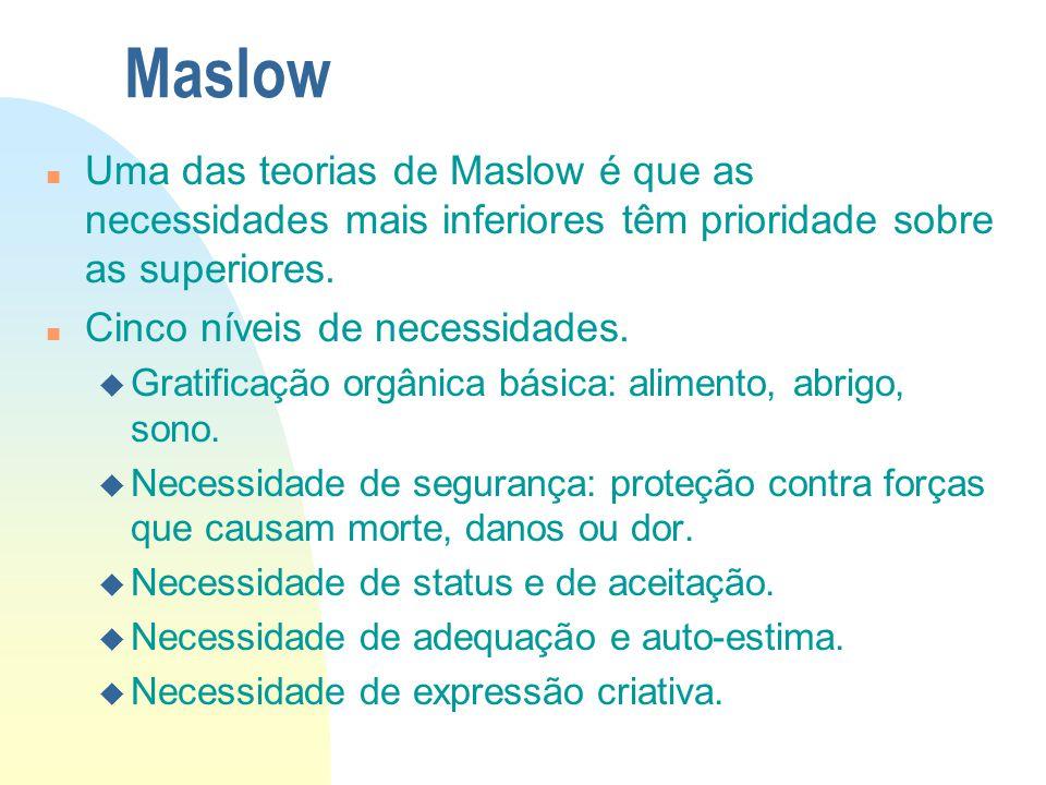 Maslow n Uma das teorias de Maslow é que as necessidades mais inferiores têm prioridade sobre as superiores. n Cinco níveis de necessidades. u Gratifi