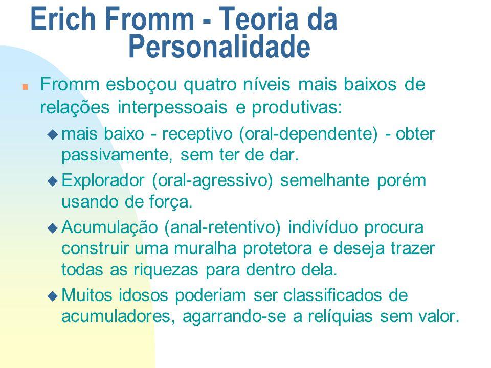 Erich Fromm - Teoria da Personalidade n Fromm esboçou quatro níveis mais baixos de relações interpessoais e produtivas: u mais baixo - receptivo (oral-dependente) - obter passivamente, sem ter de dar.