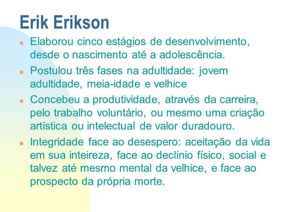 Erik Erikson n Elaborou cinco estágios de desenvolvimento, desde o nascimento até a adolescência. n Postulou três fases na adultidade: jovem adultidad