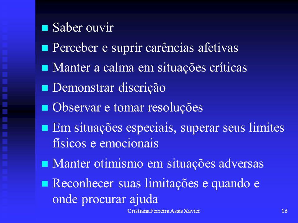 Cristiana Ferreira Assis Xavier16 Saber ouvir Perceber e suprir carências afetivas Manter a calma em situações críticas Demonstrar discrição Observar