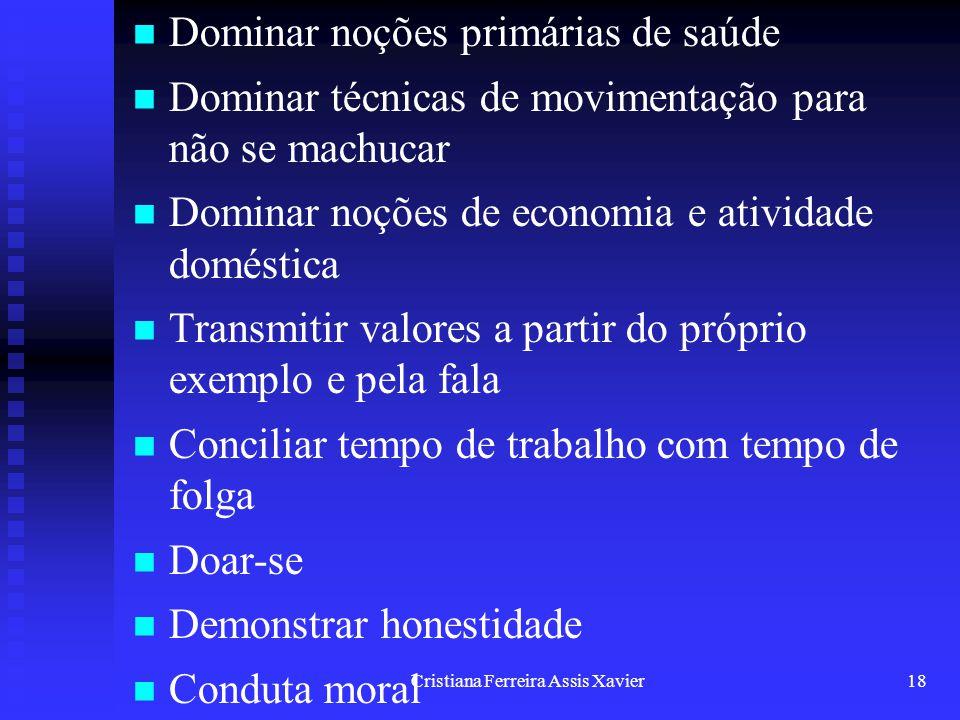 Cristiana Ferreira Assis Xavier18 Dominar noções primárias de saúde Dominar técnicas de movimentação para não se machucar Dominar noções de economia e