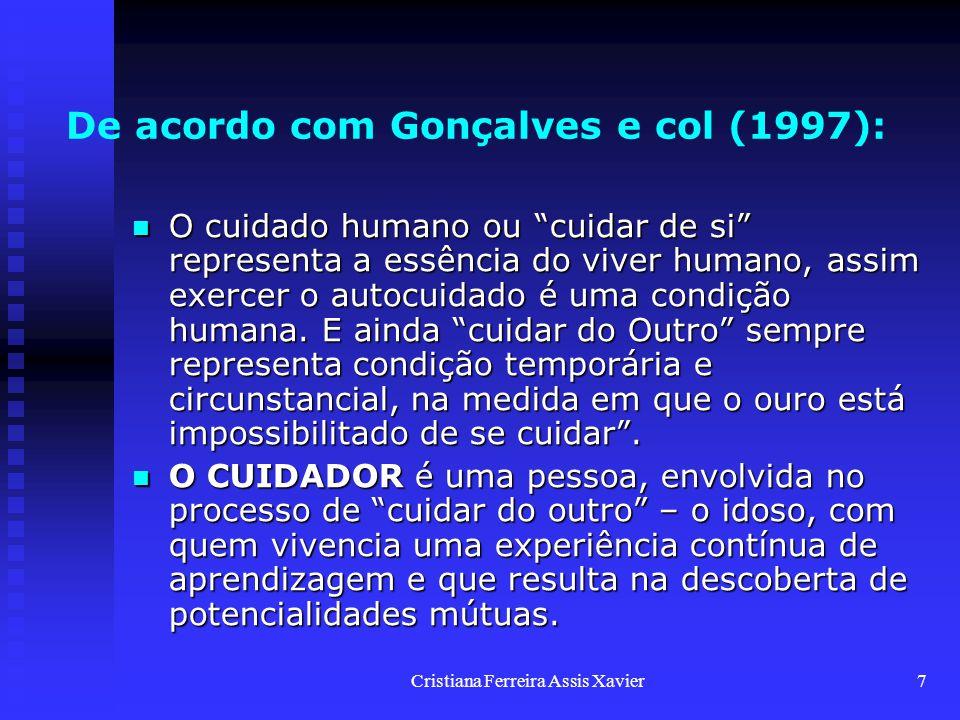 """Cristiana Ferreira Assis Xavier7 De acordo com Gonçalves e col (1997): O cuidado humano ou """"cuidar de si"""" representa a essência do viver humano, assim"""