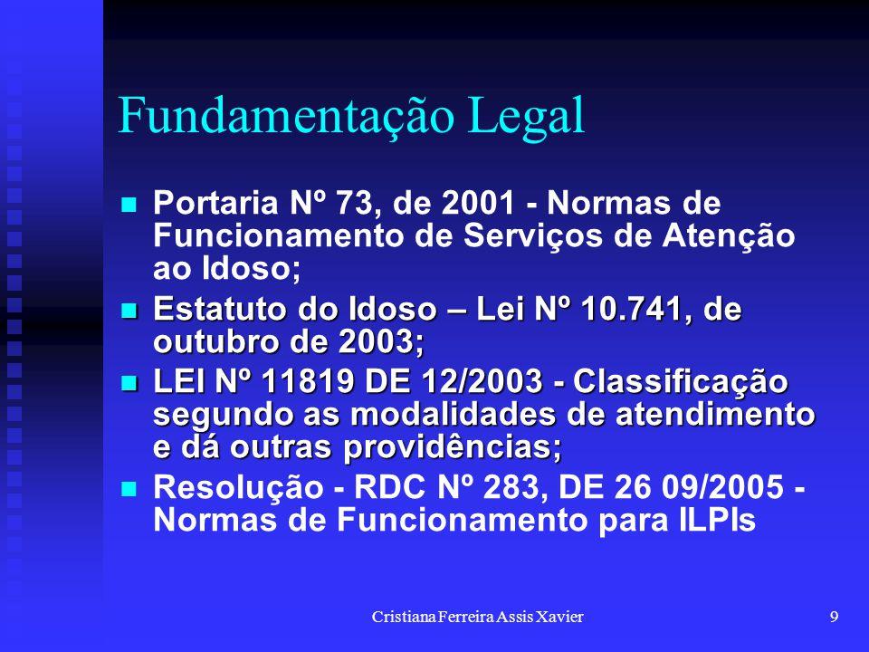 Cristiana Ferreira Assis Xavier9 Fundamentação Legal Portaria Nº 73, de 2001 - Normas de Funcionamento de Serviços de Atenção ao Idoso; Estatuto do Id