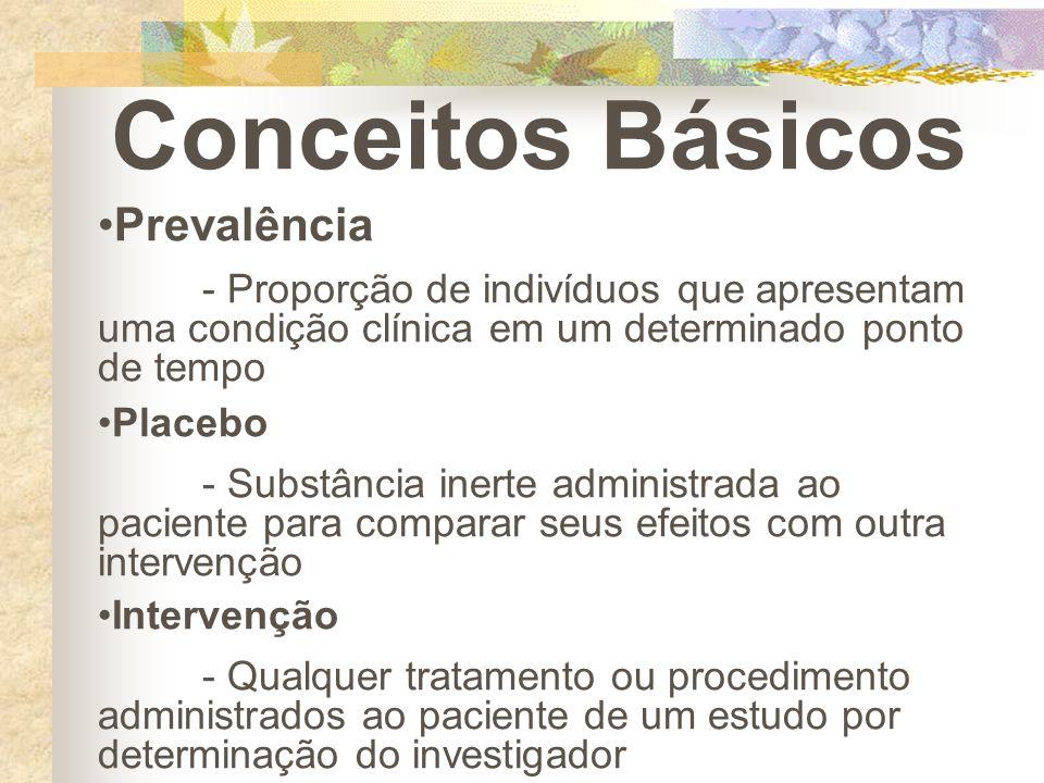 Conceitos Básicos Prevalência - Proporção de indivíduos que apresentam uma condição clínica em um determinado ponto de tempo Placebo - Substância iner