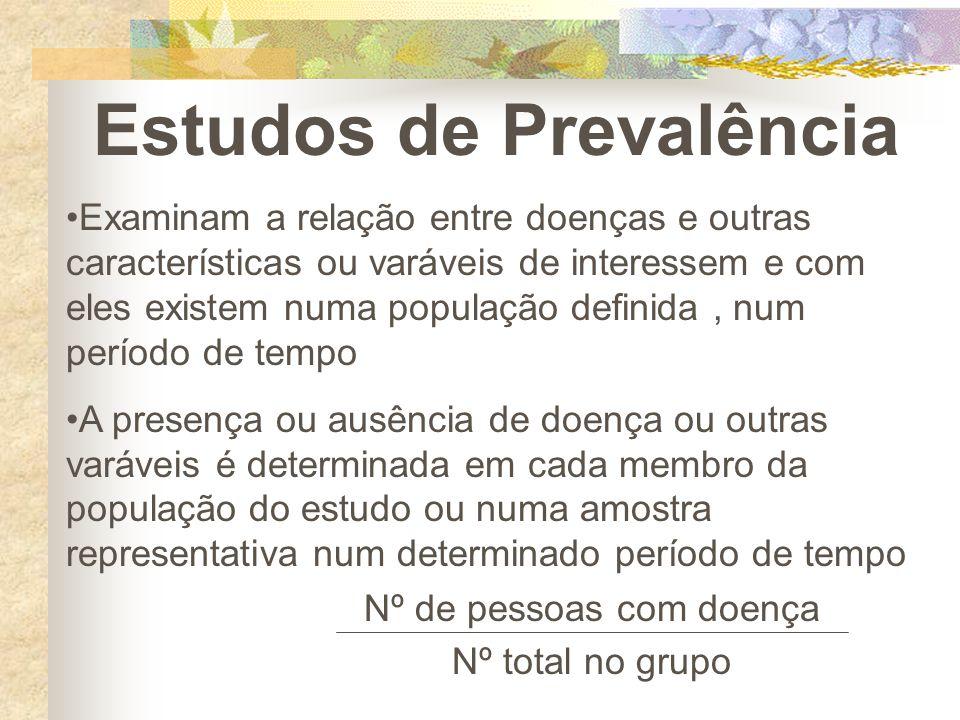 Estudos de Prevalência Examinam a relação entre doenças e outras características ou varáveis de interessem e com eles existem numa população definida,