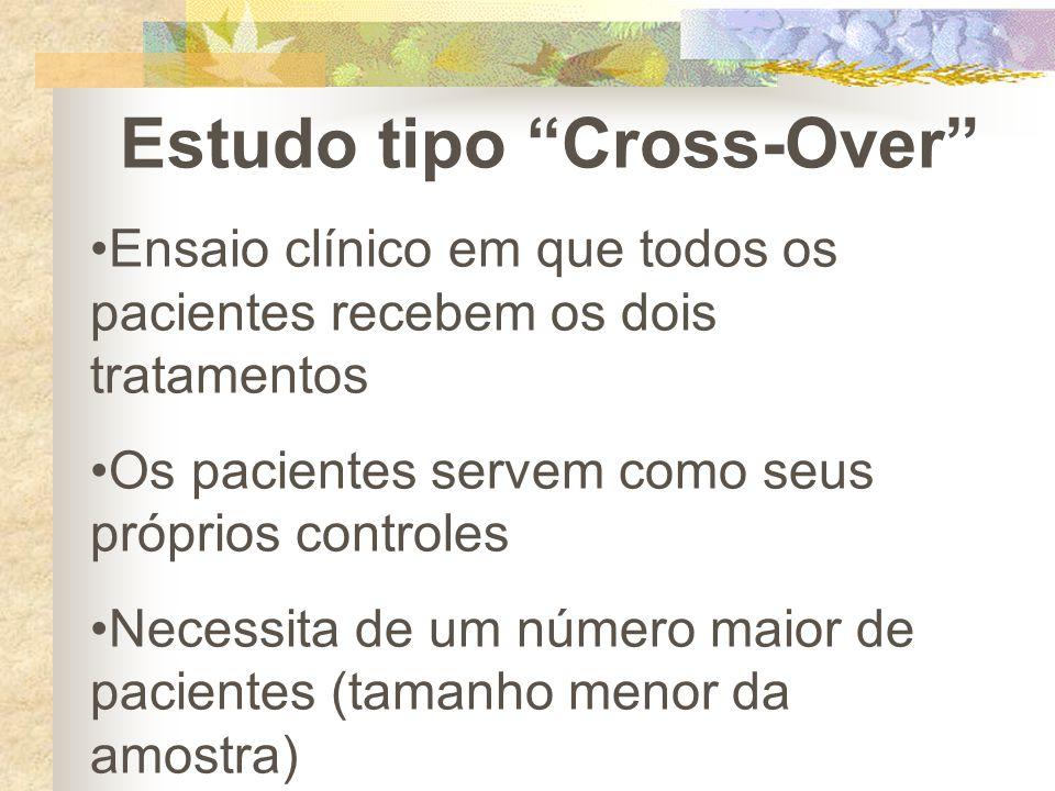"""Estudo tipo """"Cross-Over"""" Ensaio clínico em que todos os pacientes recebem os dois tratamentos Os pacientes servem como seus próprios controles Necessi"""