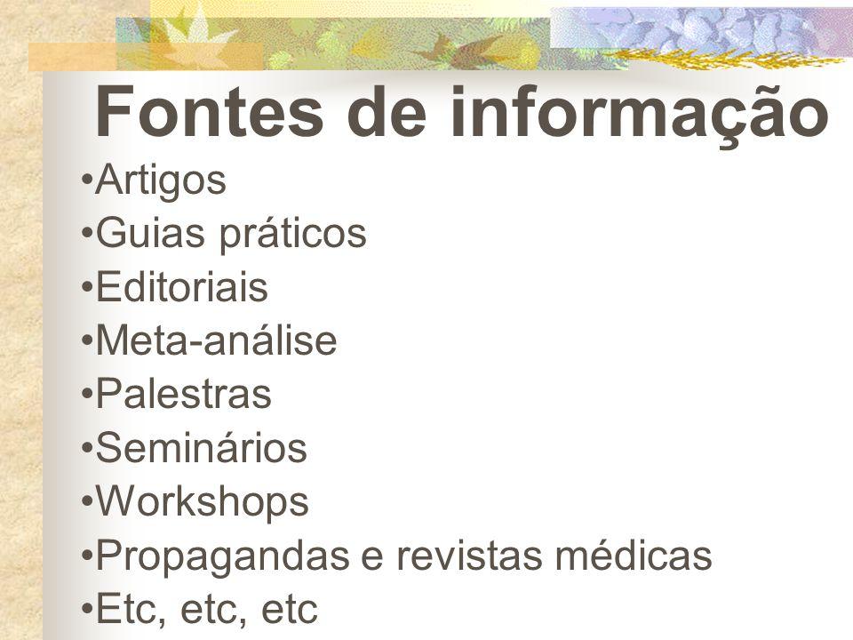 Fontes de informação Artigos Guias práticos Editoriais Meta-análise Palestras Seminários Workshops Propagandas e revistas médicas Etc, etc, etc