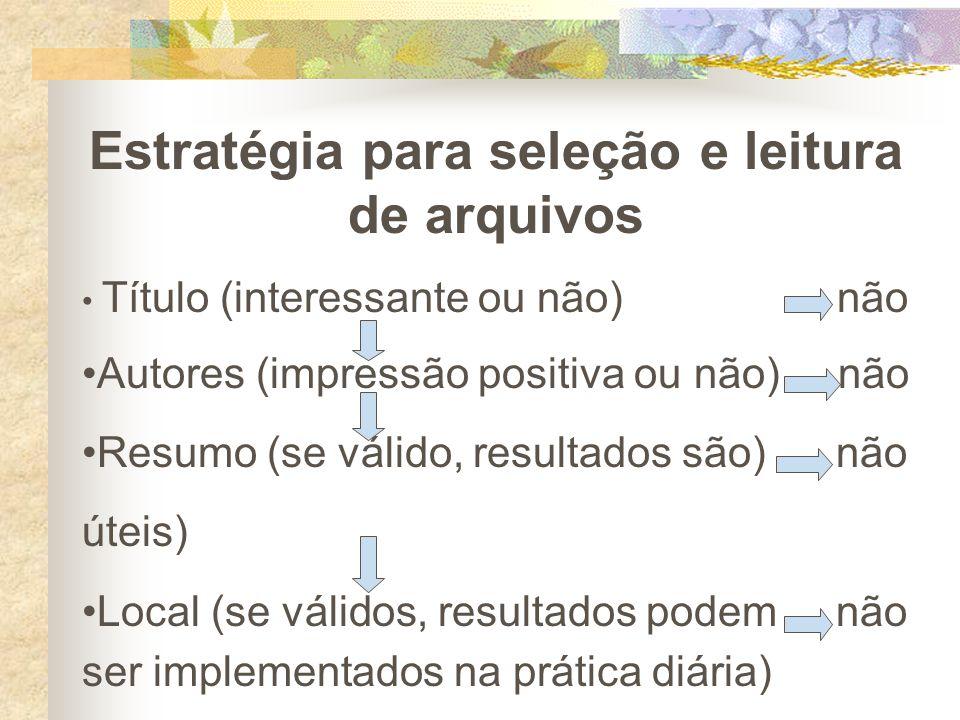 Estratégia para seleção e leitura de arquivos Título (interessante ou não) não Autores (impressão positiva ou não) não Resumo (se válido, resultados s