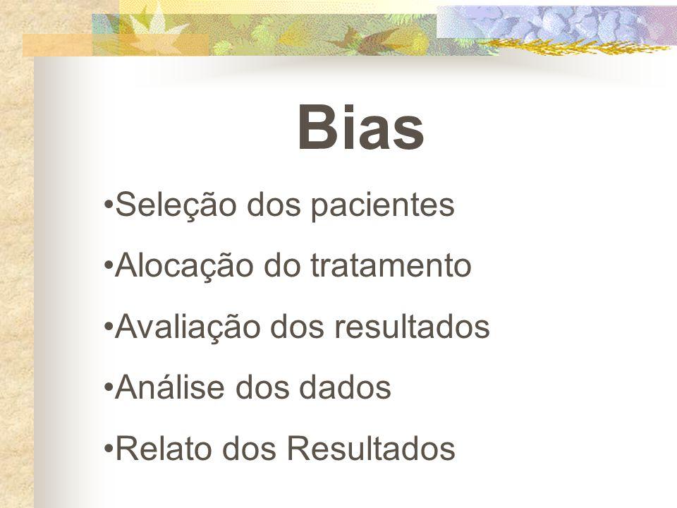 Bias Seleção dos pacientes Alocação do tratamento Avaliação dos resultados Análise dos dados Relato dos Resultados
