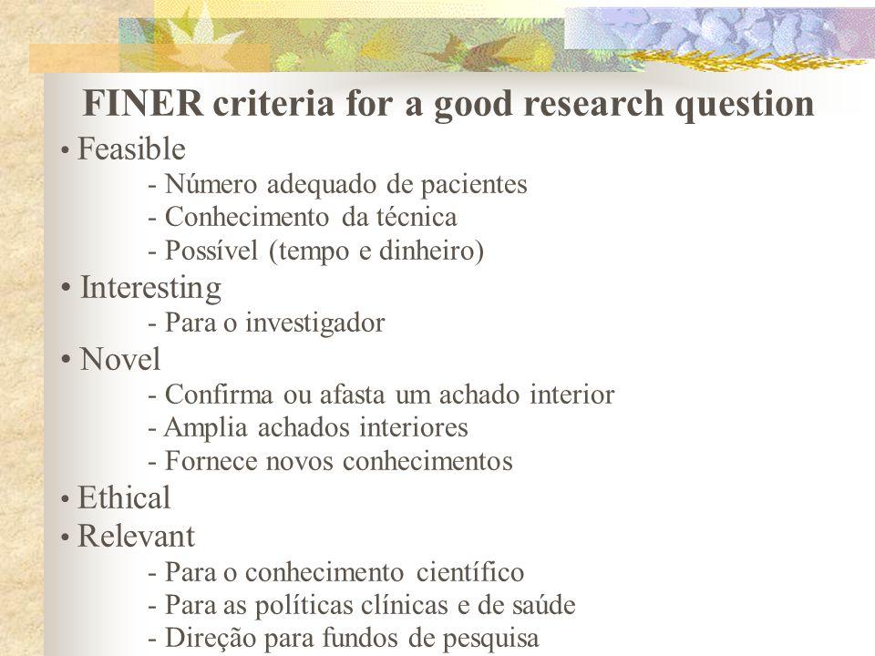 FINER criteria for a good research question Feasible - Número adequado de pacientes - Conhecimento da técnica - Possível (tempo e dinheiro) Interestin