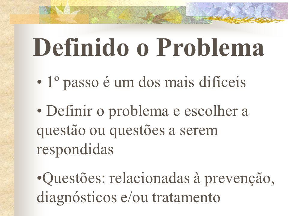 Definido o Problema 1º passo é um dos mais difíceis Definir o problema e escolher a questão ou questões a serem respondidas Questões: relacionadas à p