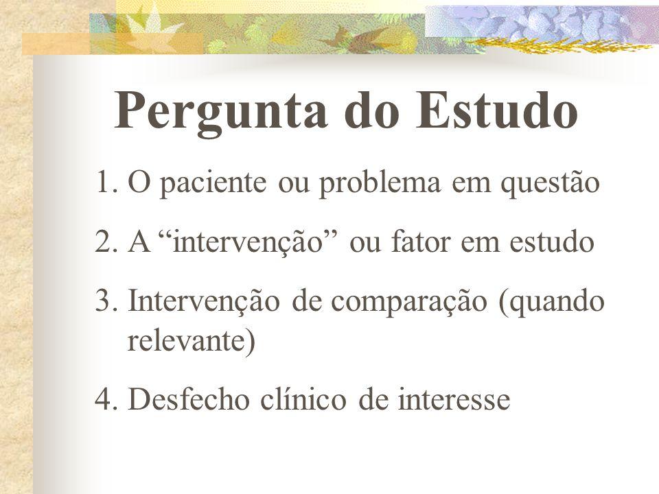 """Pergunta do Estudo 1.O paciente ou problema em questão 2.A """"intervenção"""" ou fator em estudo 3.Intervenção de comparação (quando relevante) 4.Desfecho"""