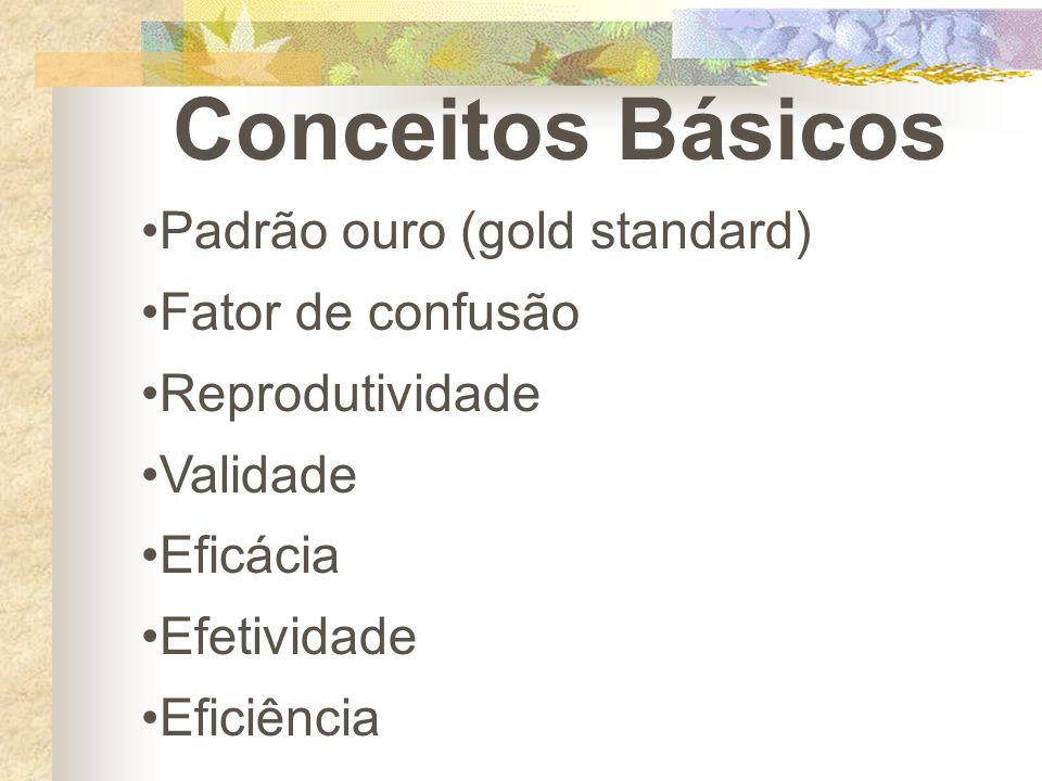 Conceitos Básicos Padrão ouro (gold standard) Fator de confusão Reprodutividade Validade Eficácia Efetividade Eficiência