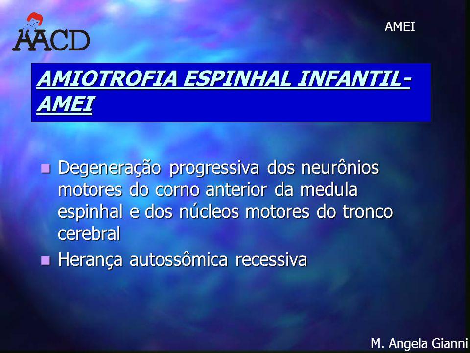 M. Angela Gianni AMEI AMIOTROFIA ESPINHAL INFANTIL- AMEI Degeneração progressiva dos neurônios motores do corno anterior da medula espinhal e dos núcl