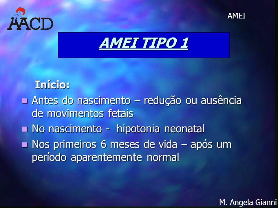 M. Angela Gianni AMEI AMEI TIPO 1 Início: Início: Antes do nascimento – redução ou ausência de movimentos fetais Antes do nascimento – redução ou ausê