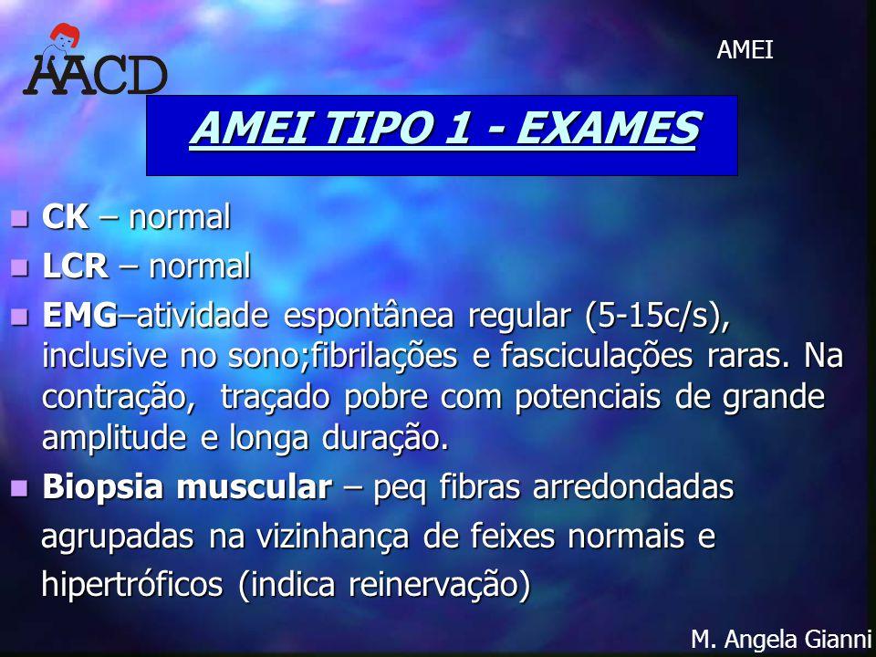 M. Angela Gianni AMEI AMEI TIPO 1 - EXAMES CK – normal CK – normal LCR – normal LCR – normal EMG–atividade espontânea regular (5-15c/s), inclusive no