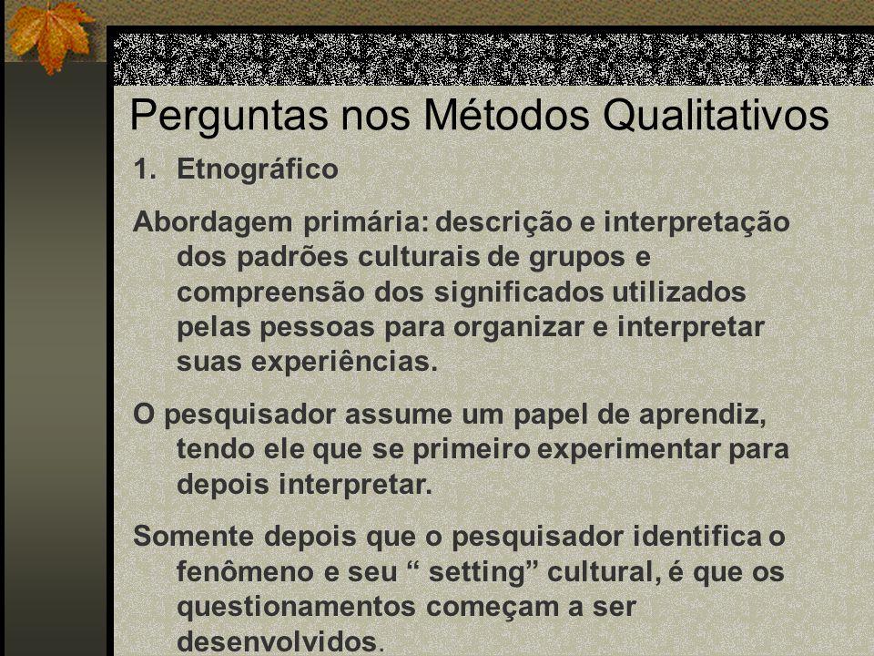 Questões nas Pesquisas Naturais O padrão interativo de questionamento - coleta dos dados – reformulação das questões representam o formato das pesquis